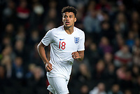 James Justin (Leicester City) of England U21 during the UEFA Euro U21 International qualifier match between England U21 and Austria U21 at Stadium MK, Milton Keynes, England on 15 October 2019. Photo by Andy Rowland.