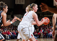 Stanford's  Mikaela Ruef, looks for an open player during Stanford women's basketball  vs Washington State at Maples Pavilion, Stanford, California on March 1, 2014.