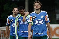 SAO PAULO, SP, 22 FEVEREIRO 2013 - TREINO PALMEIRAS-  Os jogadores Valdivia (e) Vinicius(c) e Hanrique(d)  durante treino na Academia de Futebol, na tarde desta sexta-feira(22), zona oeste da capital - A equipe se prepara para o duelo contra o União Barbarense, próximo domingo(24)  (FOTO: LOLA OLIVEIRA/ BRAZIL PHOTO PRESS).