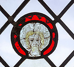 Medieval stained glass window, Holy Trinity church, Long Melford, Suffolk, England