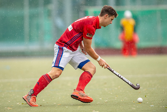 Mannheim, Germany, September 29: During the 1. Bundesliga men fieldhockey match between Mannheimer HC (red) and Rot-Weiss Koeln (grey) on September 29, 2019 at Am Neckarkanal in Mannheim, Germany. Final score 3-3 (HT 3-1). (worldsportpics Copyright Dirk Markgraf) *** Timm Haase #27 of Mannheimer HC