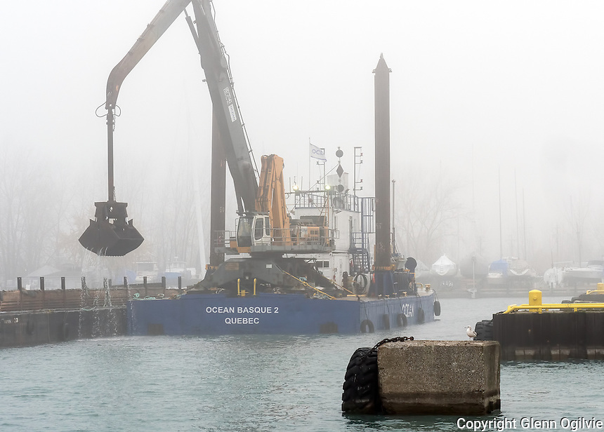 Dredging the North Slip in the Sarnia Bay is the Ocean Basque 2, of Quebec.