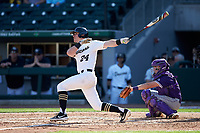 Chris Lanzilli (24) of the Wake Forest Demon Deacons follows through on his swing against the Furman Paladins at BB&T BallPark on March 2, 2019 in Charlotte, North Carolina. The Demon Deacons defeated the Paladins 13-7. (Brian Westerholt/Four Seam Images)