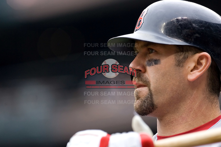 July 23, 2008:  The Boston Red Sox's Jason Varitek gets ready in the on-deck circle during a game against the Seattle Mariners at Safeco Field in Seattle, Washington.