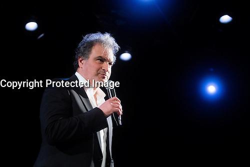 "French humorist Raphael Mezrahi during his show "" Ma grand mere vous adore! "" in Theatre les Feux de la Rampe on december 31 2016, in Paris."