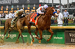 LOUISVILLE, KY - MAY 05: Justify #7, ridden by jockey Mike Smith, wins the 144th running of the Kentucky Derby during the 144th Kentucky Derby at Churchill Downs on May 5, 2018 in Louisville, Kentucky. (Photo by Jessica Morgan/Eclipse Sportswire/Getty Images)