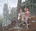 "Native American Shawnee warriors in scouting party on Chimney Rocks observing local farmer Adam Holliday and his young children working in their fields prior to raiding them at present day Hollidaysburg, PA. Oil on canvas, 19"" x 22""."