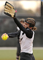 NWA Democrat-Gazette/BEN GOFF @NWABENGOFF<br /> Madison Prough pitches for Bentonville Thursday, March 16, 2017, during the softball game against Van Buren at Bentonville's Tiger Athletic Complex.