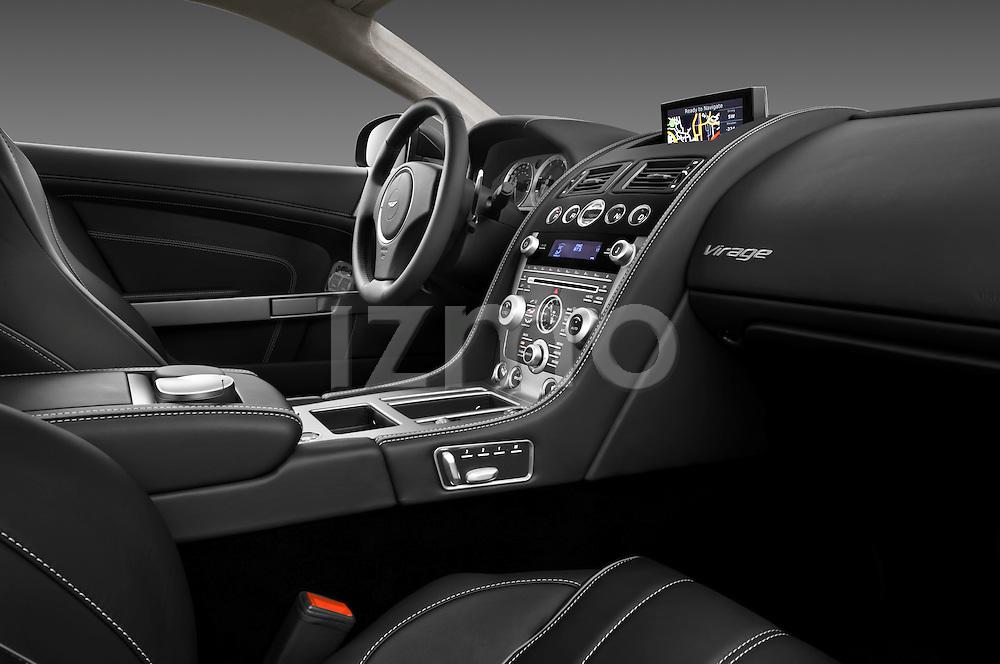 Passenger side dashboard view of a 2012 Aston Martin Virage.