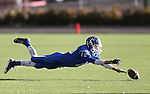 Carson's Nolan Shine dives for a ball thrown on a punt fake against Reed during the NIAA D-1 Northern Regional title game at Bishop Manogue High School in Reno, Nev., on Saturday, Nov. 29, 2014. Reed won 28-25.<br /> Photo by Cathleen Allison