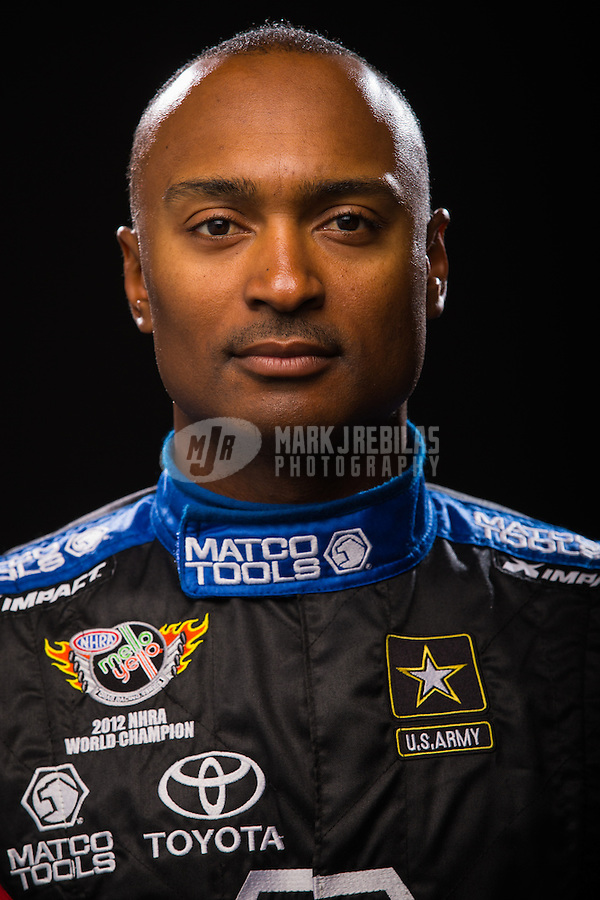 Jan 15, 2015; Jupiter, FL, USA; NHRA top fuel driver Antron Brown poses for a portrait during preseason testing at Palm Beach International Raceway. Mandatory Credit: Mark J. Rebilas-USA TODAY Sports