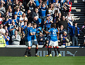 9th September 2017, Ibrox Park, Glasgow, Scotland; Scottish Premier League football, Rangers versus Dundee; Rangers' Josh Windass (left) is congratulated after scoring by Lee Wallace snd Carlos Alberto Pena after scoring for 2-0