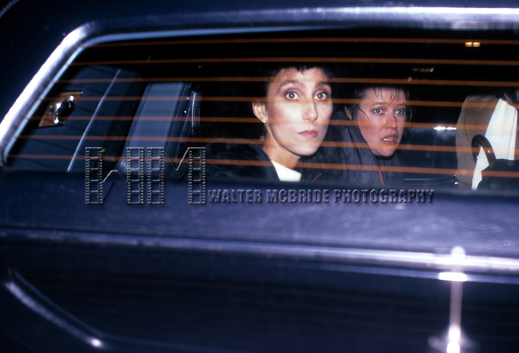 CHER AND KATHY BATES.DECEMBER 1983.COME BACK TO THE FIVE AND DIME.JIMMY DEAN, JIMMY DEAN.LEAVING THE MARTIN BECK THEATRE.NEW YORK CITY.CREDIT ALL USES