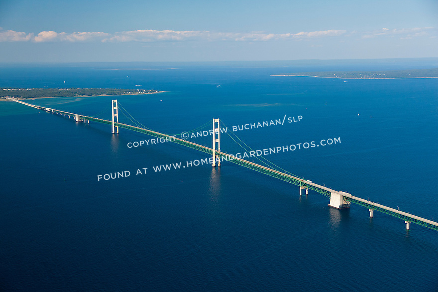 Mackinac Bridge, Michigan looking north to the Upper Peninsula (U.P.)