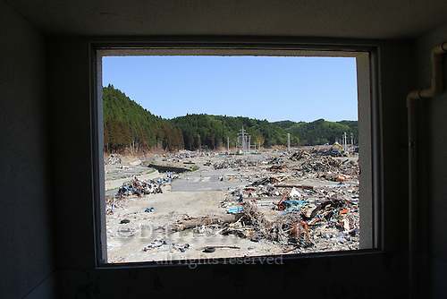 May 18, 2011; Minamisanriku, Miyagi Pref., Japan - View from inside the third floor of an apartment complex in Minamisanriku after the magnitude 9.0 Great East Japan Earthquake and Tsunami that devastated the Tohoku region of Japan on March 11, 2011.