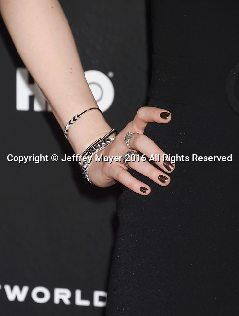 HOLLYWOOD, CA - SEPTEMBER 28: Actress Evan Rachel Wood, bracelets, rings detail, at the premiere of HBO's 'Westworld' at TCL Chinese Theater on September 28, 2016 in Hollywood, California.