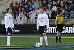05 December 2008: Notre Dame's Rose Augustin (15) and Kerri Hanks (2) wait to start the game. The Notre Dame Fighting Irish defeated the Stanford Cardinal 1-0 at WakeMed Soccer Park in Cary, NC in an NCAA Division I Women's College Cup semifinal game.