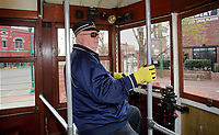 NWA Democrat-Gazette/DAVID GOTTSCHALK Bill Buchanan, a volunteer streetcar motorman with the Fort Smith Trolley Museum, drives a Birney Streetcar Monday, March 26, 2018, onto 3rd Street from Garrison Avenue in Fort Smith. Streetcars operated in Fort Smith from 1883 to 1933. Buchanan was driving a streetcar built in 1919. The museum and streetcar operate on donations and grants.