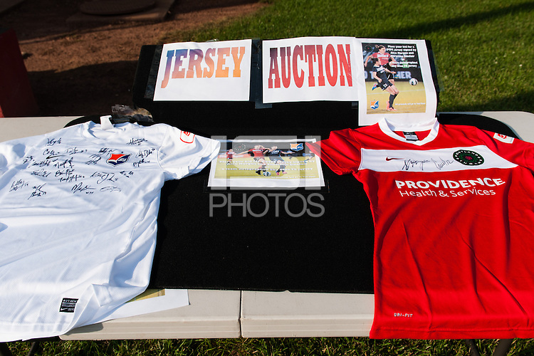 Autographed Sky Blue FC and Portland Thorns jerseys up for auction prior to a National Women's Soccer League (NWSL) match at Yurcak Field in Piscataway, NJ, on June 22, 2013.