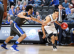 SIOUX FALLS, SD: MARCH 5: Zach Jackson #21 from Omaha looks to get a step past Kason Harrell #32 from Fort Wayne during the Summit League Basketball Championship on March 5, 2017 at the Denny Sanford Premier Center in Sioux Falls, SD. (Photo by Dave Eggen/Inertia)