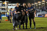 James Wilson, Max Lahiff, Michael van Vuuren and Beno Obano of Bath Rugby pose for a photo after the match. Anglo-Welsh Cup Semi Final, between Bath Rugby and Northampton Saints on March 9, 2018 at the Recreation Ground in Bath, England. Photo by: Patrick Khachfe / Onside Images