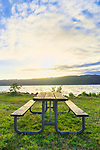 Picninc Table in sun, on waterfront, at Twanoh State Park, Washington, USA