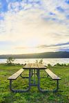 Picninc Table in sun, on waterfront, at Twanoh State Park, Washington, USA