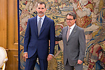 King Felipe VI of Spain and the President of the Government of Catalu&ntilde;a, Artur Mas during Royal Audience at Zarzuela Palace in Madrid, Spain. July 17, 2015.<br />  (ALTERPHOTOS/BorjaB.Hojas)
