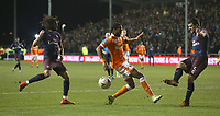 Blackpool's Nathan Delfouneso battles with Arsenal's Sokratis Papastathopoulos (right) and Mohamed Elneny (left) <br /> <br /> Photographer Stephen White/CameraSport<br /> <br /> Emirates FA Cup Third Round - Blackpool v Arsenal - Saturday 5th January 2019 - Bloomfield Road - Blackpool<br />  <br /> World Copyright © 2019 CameraSport. All rights reserved. 43 Linden Ave. Countesthorpe. Leicester. England. LE8 5PG - Tel: +44 (0) 116 277 4147 - admin@camerasport.com - www.camerasport.com