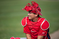 Orem Owlz catcher Griffin Barnes (28) warms up before a Pioneer League game against the Missoula Osprey at Ogren Park Allegiance Field on August 19, 2018 in Missoula, Montana. The Missoula Osprey defeated the Orem Owlz by a score of 8-0. (Zachary Lucy/Four Seam Images)