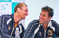 Austria, Kitzbuhel, Juli 14, 2015, Tennis, Davis Cup, Training Dutch team at the the press conference, ltr:  Thiemo de Bakker and Robin Haase having fun<br /> Photo: Tennisimages/Henk Koster