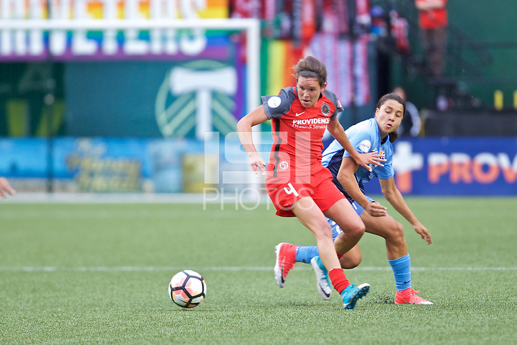 Portland, OR - Saturday June 17, 2017: Emily Menges, Samantha Kerr during a regular season National Women's Soccer League (NWSL) match between the Portland Thorns FC and Sky Blue FC at Providence Park.