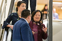 United States Senator Mazie Hirono (Democrat of Hawaii) speaks with staffers in the Senate Subway under the United States Capitol Building in Washington, DC on Friday, December 1, 2017. Photo Credit: Alex Edelman/CNP/AdMedia