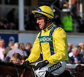 14h April 2018, Aintree Racecourse, Liverpool, England; The 2018 Grand National horse racing festival sponsored by Randox Health, day 3; Jockey Robbie Power who brought home Lostintranslation into second place in The Betway Mersey Novices' Hurdle