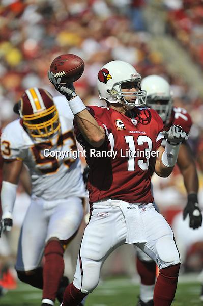 21 September 2008:  Cardinals QB Kurt Warner (13)..The Washington Redskins defeated the Arizona Cardinals 24-17 at FedEx Field in Landover, MD.