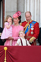 Catherine Duchess of Cambridge, Princess Charlotte, Prince George, Prince William<br /> on the balcony of Buckingham Palace during Trooping the Colour on The Mall, London. <br /> <br /> <br /> &copy;Ash Knotek  D3283  17/06/2017