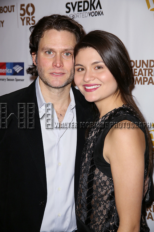 Steven Pasquale and Phillipa Soo attends 'The Robber Bridegroom' Off-Broadway Opening Night performance press reception at Laura Pels Theatre on March 13, 2016 in New York City.