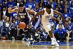26 November 2014: Duke's Amile Jefferson (right) and Furman's Kris Acox (ISL) (left). The Duke University Blue Devils hosted the Furman University Paladins at Cameron Indoor Stadium in Durham, North Carolina in a 2014-16 NCAA Men's Basketball Division I game. Duke won the game 93-54.