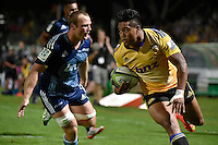 Julian Savea in action during the Super Rugby - Hurricanes v Blues at FMG Stadium, Palmerston North, New Zealand on Friday 13 March 2015. <br /> Photo by Masanori Udagawa. <br /> www.photowellington.photoshelter.com.