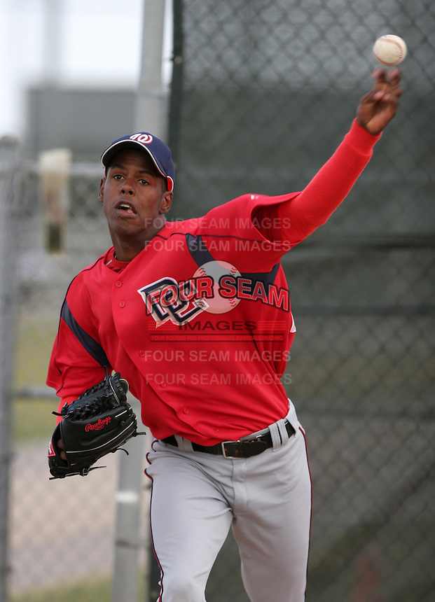 Washington Nationals minor leaguer Yunior Novoa during Spring Training at the Carl Barger Training Complex on March 19, 2007 in Melbourne, Florida.  (Mike Janes/Four Seam Images)