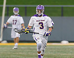 TD Ierlan (#3) carries the ball forward after winning a faceoff as UAlbany Men's Lacrosse defeats Richmond 18-9 on May 12 at Casey Stadium in the NCAA tournament first round.