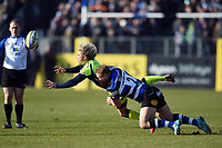 Faf de Klerk of Sale Sharks is tackled by Ross Batty of Bath Rugby. Aviva Premiership match, between Bath Rugby and Sale Sharks on February 24, 2018 at the Recreation Ground in Bath, England. Photo by: Patrick Khachfe / Onside Images