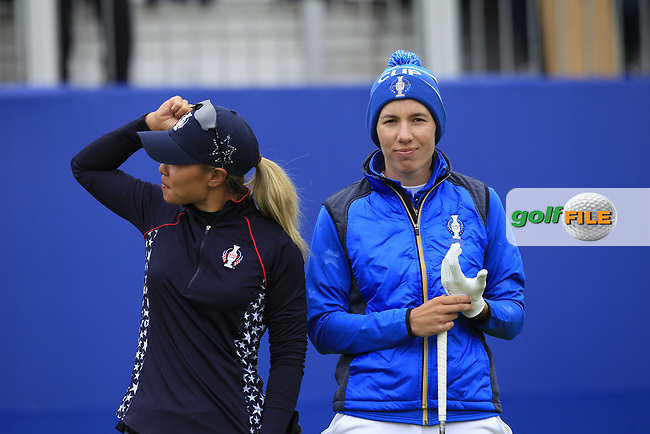 Danielle Kang (USA) and Carlota Ciganda (EUR) on the 1st tee during Day 3 Singles at the Solheim Cup 2019, Gleneagles Golf CLub, Auchterarder, Perthshire, Scotland. 15/09/2019.<br /> Picture Thos Caffrey / Golffile.ie<br /> <br /> All photo usage must carry mandatory copyright credit (© Golffile | Thos Caffrey)