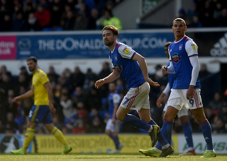 Ipswich Town's Gwion Edwards and Kayden Jackson<br /> <br /> Photographer Hannah Fountain/CameraSport<br /> <br /> The EFL Sky Bet Championship - Ipswich Town v Birmingham City - Saturday 13th April 2019 - Portman Road - Ipswich<br /> <br /> World Copyright © 2019 CameraSport. All rights reserved. 43 Linden Ave. Countesthorpe. Leicester. England. LE8 5PG - Tel: +44 (0) 116 277 4147 - admin@camerasport.com - www.camerasport.com