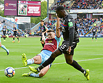 Crystal Palace's Jeffrey Schlupp in action with Burnley's Matthew Lowton during the premier league match at the Turf Moor Stadium, Burnley. Picture date 10th September 2017. Picture credit should read: Paul Burrows/Sportimage