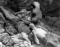 Starved bodies of prisoners who were transported to Dachau from another concentration camp, lie grotesquely as they died enroute.  This is contents of one of 50 similar freight cars.  Germany, April 30, 1945.  T4c. Sidney Blau.  (Army)<br /> NARA FILE #:  111-SC-264811<br /> WAR &amp; CONFLICT BOOK #:  1118
