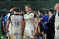 David Denton of Bath Rugby looks dejected after the match. European Rugby Champions Cup match, between Leinster Rugby and Bath Rugby on January 16, 2016 at the RDS Arena in Dublin, Republic of Ireland. Photo by: Patrick Khachfe / Onside Images