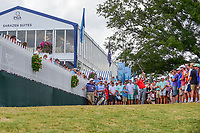 Jon Rahm (ESP) hits his approach shot from the gallery after his drive went way right after a fan yelled during his swing during Sunday's final round of the PGA Championship at the Quail Hollow Club in Charlotte, North Carolina. 8/13/2017.<br /> Picture: Golffile | Ken Murray<br /> <br /> <br /> All photo usage must carry mandatory copyright credit (&copy; Golffile | Ken Murray)