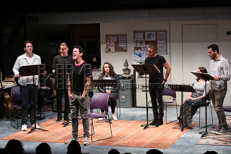 """Cast of """"Eighty-Sixed"""" during the 2018 Presentation of New Works by the DGF Fellows on October 15, 2018 at the Playwrights Horizons Theatre in New York City."""