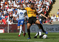 Joss Labadie of Newport County and Tranmere's Connor Jennings challenge for the ball during Newport County vs Tranmere Rovers, Sky Bet EFL League 2 Play-Off Final Football at Wembley Stadium on 25th May 2019